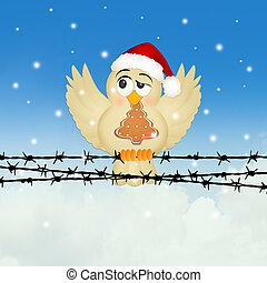 bird with Christmas cookie