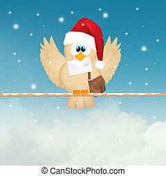 bird with Christmas letter