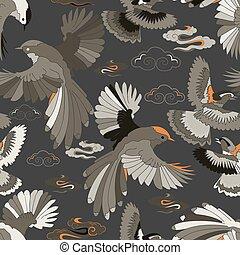Illustration of birds, blue jay, falcons in flight.