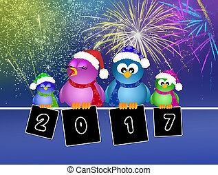 birds celebrate the New Year