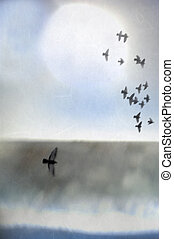 Illustration of birds in flight over an abstract landscape...