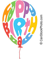 illustration of birthday balloon with text on white background