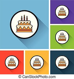 birthday cake icons with long shadow