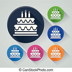 birthday cake icons with shadow