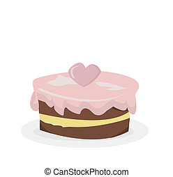 Illustration Of Birthday Cake With Candle On Isolated Background
