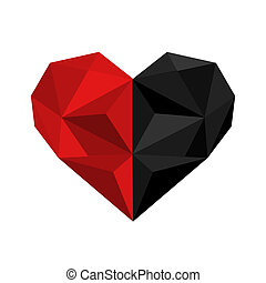 Illustration of black and red origami heart isolated on white ba