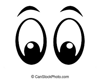 eyes - Illustration of black and white cartoon eyes