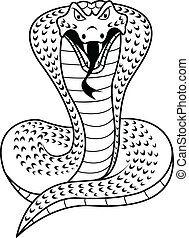 Black and white Cobra - illustration of Black and white...