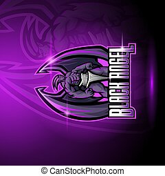 Black angel esport mascot logo design