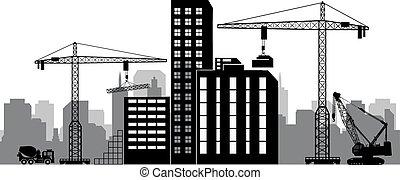 Black background construction icons