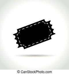 black blank ticket icon
