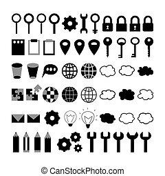 Black business icons set