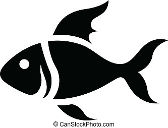 Black Cartoon Fish Icon - Illustration of Black Cartoon Fish...