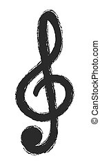 Illustration of black clef isolated on white, vector design...