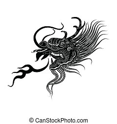 illustration of black dragon head