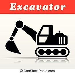 black excavator vector icon design