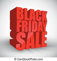 Black friday sale 3d red text i
