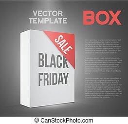 Black Friday Sale White Carton Box Template. Photorealistic Vect