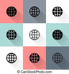 Black globe icon set