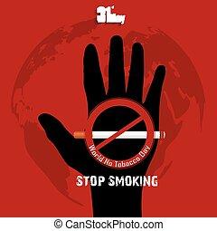 Black hand with word stop smoking