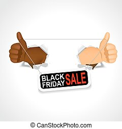 hands holding a black friday sale banner
