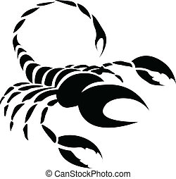 Black Scorpio Zodiac Star Sign - Illustration of Black...