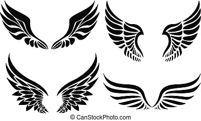 Black silhouette wings emblem collection
