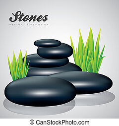 black stones - illustration of black stones with grass...