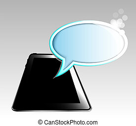 Illustration of black tablet with b