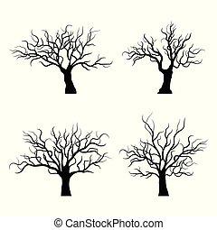 Black trees silhouette on white background