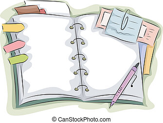 Open Notebook - Illustration of Blank Open Notebook...
