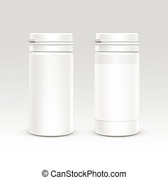 Blank Plastic Packaging Bottle with Cap for Pills Vector...