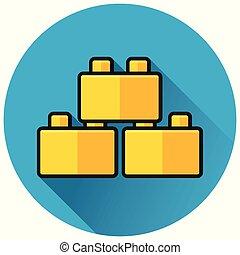 blocks circle blue flat icon