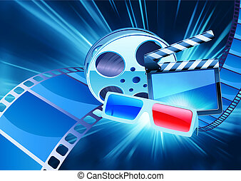 cinema background - illustration of blue abstract cinema...