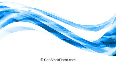 Illustration of blue abstract lines and curves on white background