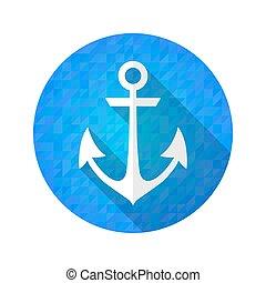 Blue anchor icon over blue