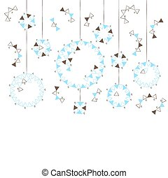 Blue and brown Christmas balls on a white background