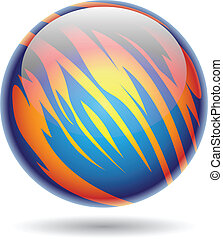 Blue and Yellow Glossy Planet Sphere