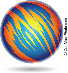 Blue and Yellow Planet Sphere