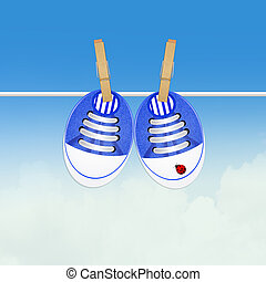 blue baby shoes - illustration of blue baby shoes