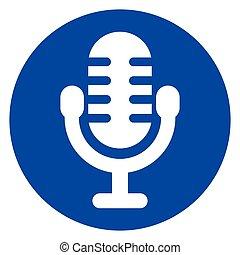 blue circle microphone icon