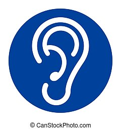 blue ear icon on white background
