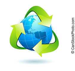 illustration of blue Earth with green recycle symbol.