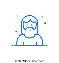 illustration of blue icon in flat line style. Linear blue cute and happy man.