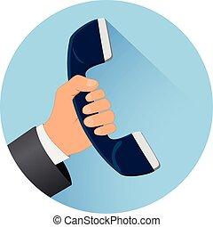 blue round phone icon