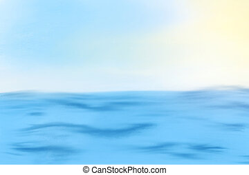Illustration of Blue sea or ocean with sunny and open sky
