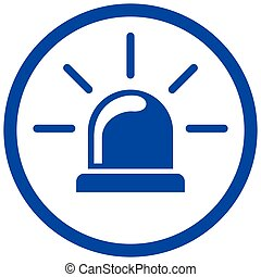 blue siren circle icon
