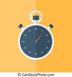 Blue stopwatch icon over orange