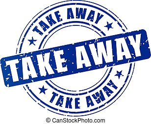 illustration of blue take away stamp on white background