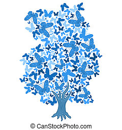 illustration of blue tree from butterflies on white background